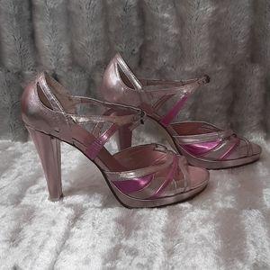 3/$18 New York Transit Metallic Pink Heels